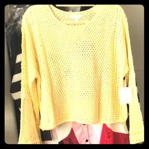 🆕 Pointelle Pullover Sweater Yellow LC
